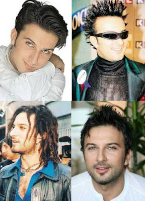 Tarkan's first promotional picture in 1992; Tarkan at the Kral TV Music Awards in 1998 when he won his first industry award; Tarkan on set for a Pepsi sponsored advert promoting Turkey in the 2002 FIFA World Cup; a photo shoot in Dubai for Hello! Magazine