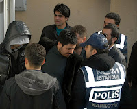Tarkan arriving at court in Istanbul on Monday, 1 March, 2010