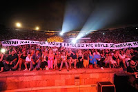 Fans showing their support for Tarkan at the Harbiye show