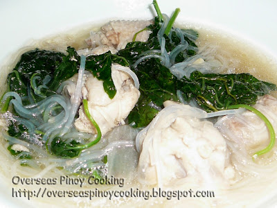 Chicken with Ampalaya Tendrils and Sotanghon