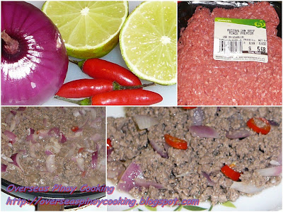 Bagis, Lemon Marinated Ground Beef Stirfry - Cooking Procedure
