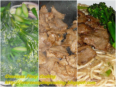Pancit Canton and Bihon with Beef and Broccoli - Cooking Procedure
