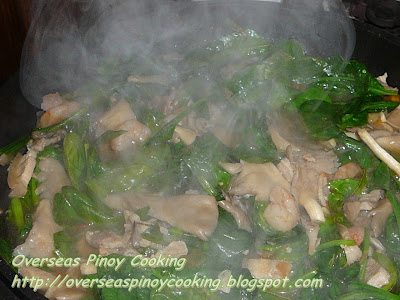 Ginisang Mushroom and Spinach - Cooking procedure