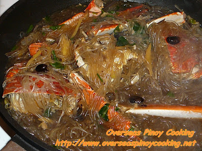 Crab with Sotanghon in Black Bean Sauce Cooking Procedure