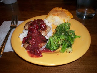 Pork Medallions with Cranberry Orange Sauce; Broccoli with Toasted Garlic & Lemon; White Rice; & Cheese Roll