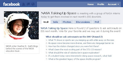 Facebook Poll for Shuttle and ISS Astronauts