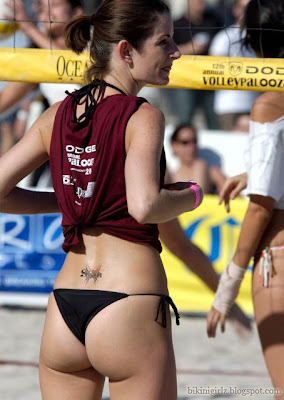 Sexy VolleyPalooza Girl is playing volleyball in hot black v-back tie sides panties.