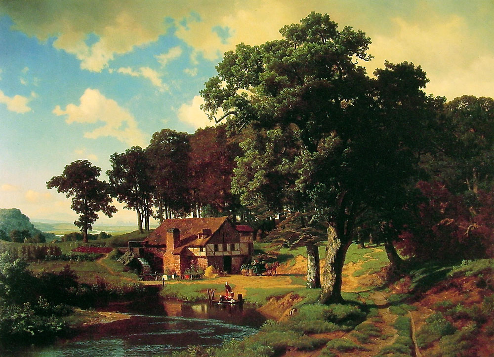 nature paintings wallpapers painting oil landscape classical albert bierstadt painter mill rustic landscapes