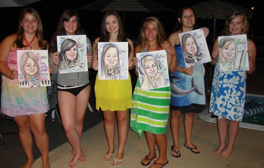 Emilys Caricature And Silhouette Blog A 15th Birthday Pool Party
