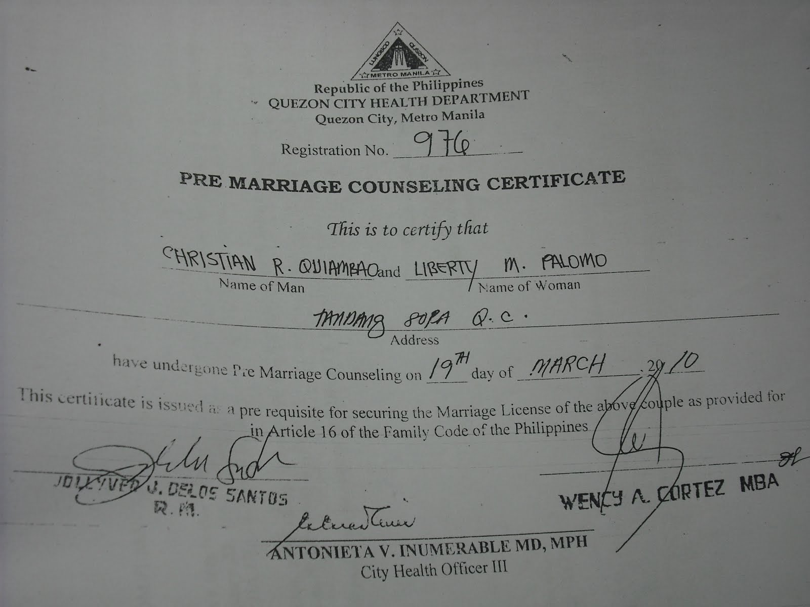 certificate marriage pre qc counselling oregon