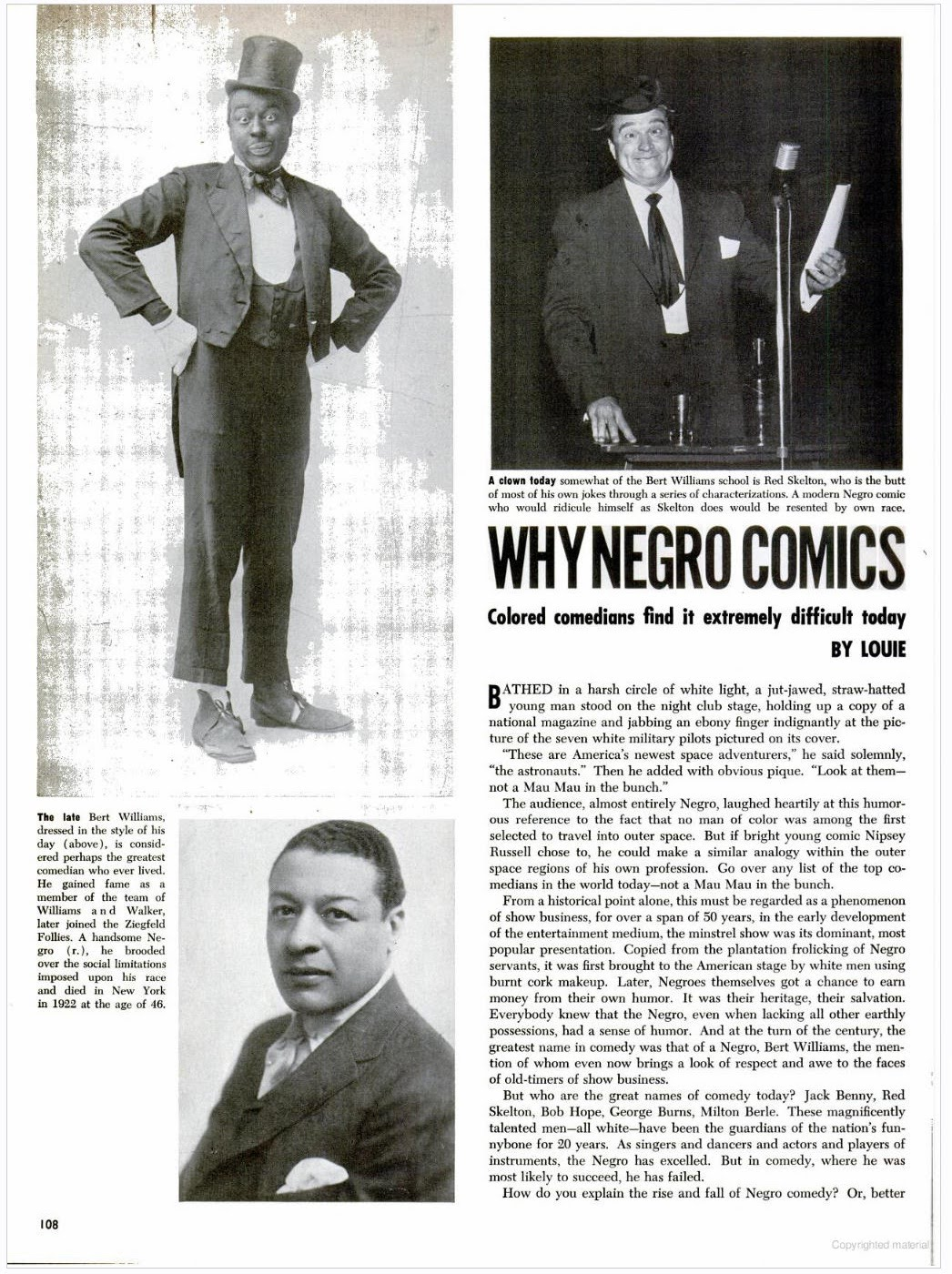 a review of bert williams the comic side of trouble Black face essays in response to the movie i have a lot of matters to comment on i was the comic side of trouble, bert williams wrote.