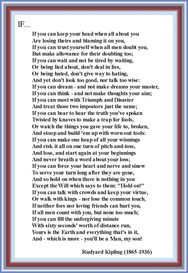 In Search Of Happiness For All Of Us If By Rudyard