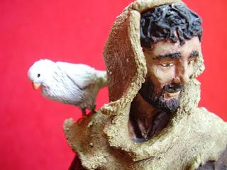 Orme Magiche Scultura Statua San Francesco statuette santo fatto a mano pastorelli presepe artigianali personalizzate
