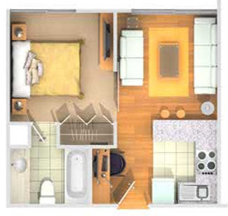 Mini departamento de 32m2 by planosdecasas.blogspot.com