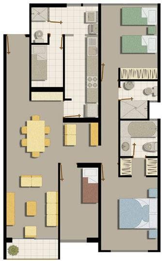 Departamento amplio de 105m2 planos de casas gratis y for Planos de departamentos