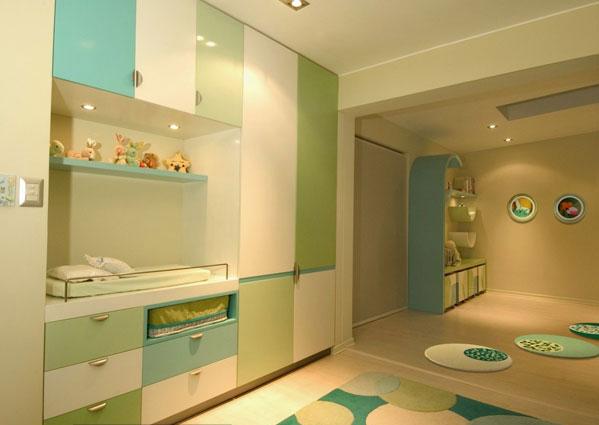 Dormitorio para bebe var n color turquesa verde y crema de for Decoracion habitacion bebe turquesa y gris