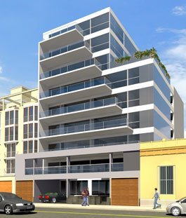 Fachada de edificio con balcones escalonados