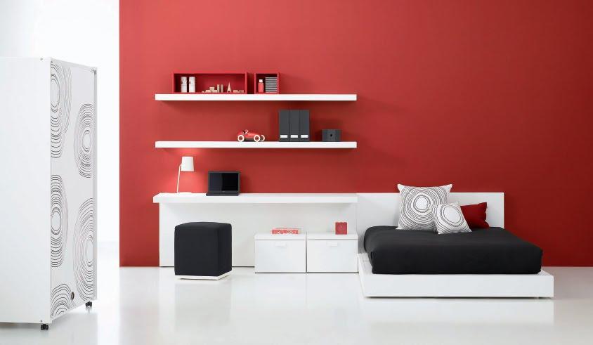 Dormitorios juveniles minimalistas en rojo recamaras for Dormitorio para 4 personas