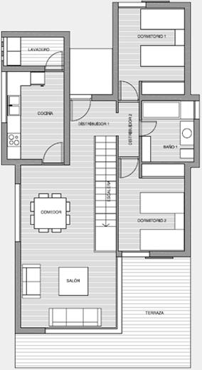 Planos 3d casa 3 dormitorios vivienda moderna planos de for Departamentos arquitectura moderna