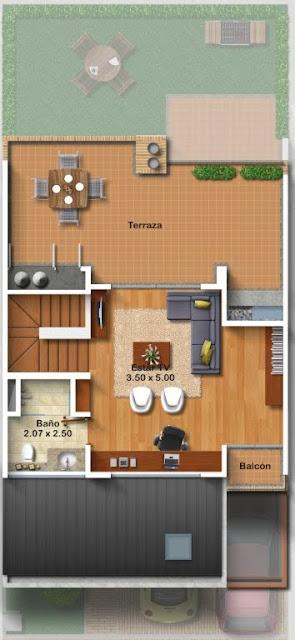 Planos de casa de 3 pisos metros cuadrados de for Fachadas de casas de 5 metros de ancho