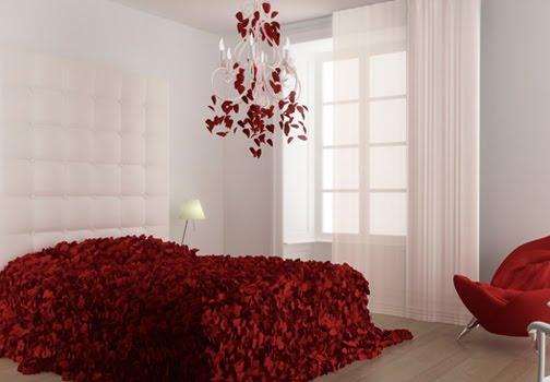 Dormitorio con petalos de rosas via for Rosas de decoracion