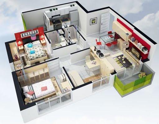 Planos 3d planos de casas gratis y departamentos en venta for Disenos de departamentos minimalistas