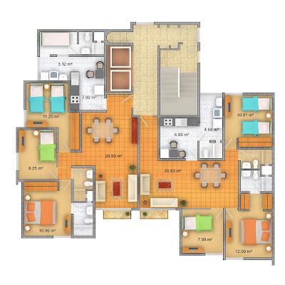 Interior design departamentos en pueblo libre Departamento 3 habitaciones