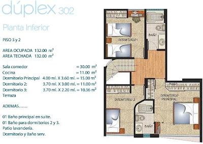 Departamento duplex de 132m2 planos para casas y for Distribucion departamentos modernos
