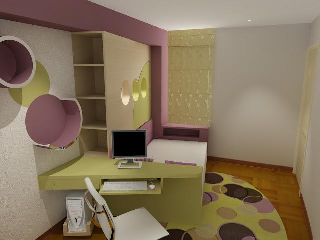 Dormitorio juvenil en rosa crema y verde manzana como for Recamaras infantiles economicas