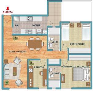 Plano de departamento de 88 m2 planos de casas gratis y for Plano departamento 2 dormitorios