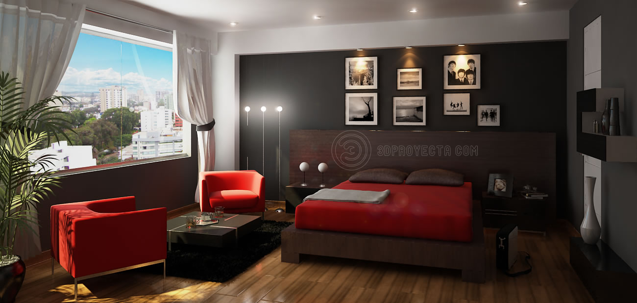 Queen Of Tattoo Dormitorio Principal 3d En Rojo Negro Marron Y Blanco # Muebles Wonderfull