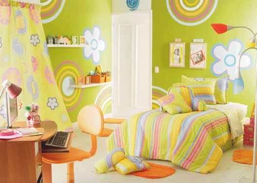 Dormitorio verde manzana para ni a for Habitaciones para ninas pintadas