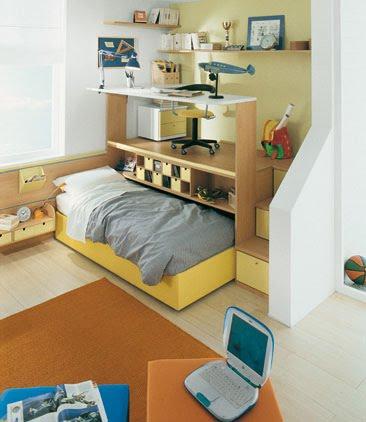Medidas de seguridad para dormitorios infantiles con literas o camas altas o camas camarote - Cama con escritorio abajo ...