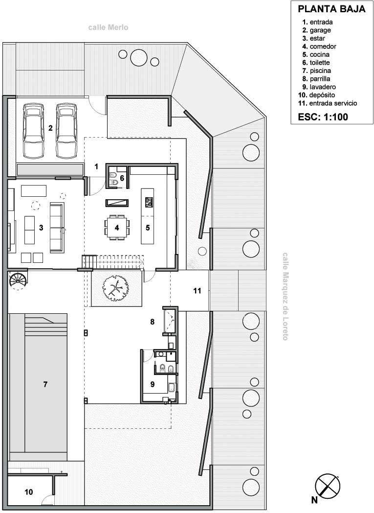 plano de vivienda unifamiliar en esquina de m en un terreno de m