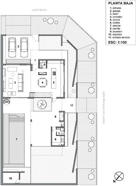 Plano de vivienda unifamiliar en esquina de 220 m2 en un for Plantas de viviendas