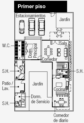 Planos de casa grande en 375m2 con 3 estacionamientos for Planos de cocina y lavanderia