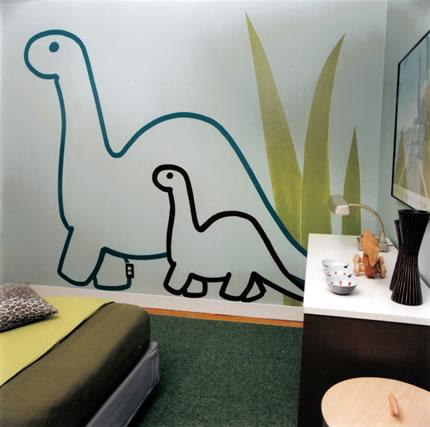 Dinosaurs bedroom dinosaur theme room decor for Como pintar un mural infantil