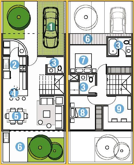 Planos de casa en 90m2 de terreno 6m x 15m planos de for Planos de casas 90m2