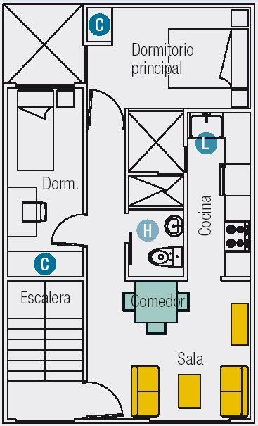 Planos de 3 mini departamentos en terreno de 60m2 6mx10m for Diseno de casa de 5 x 10