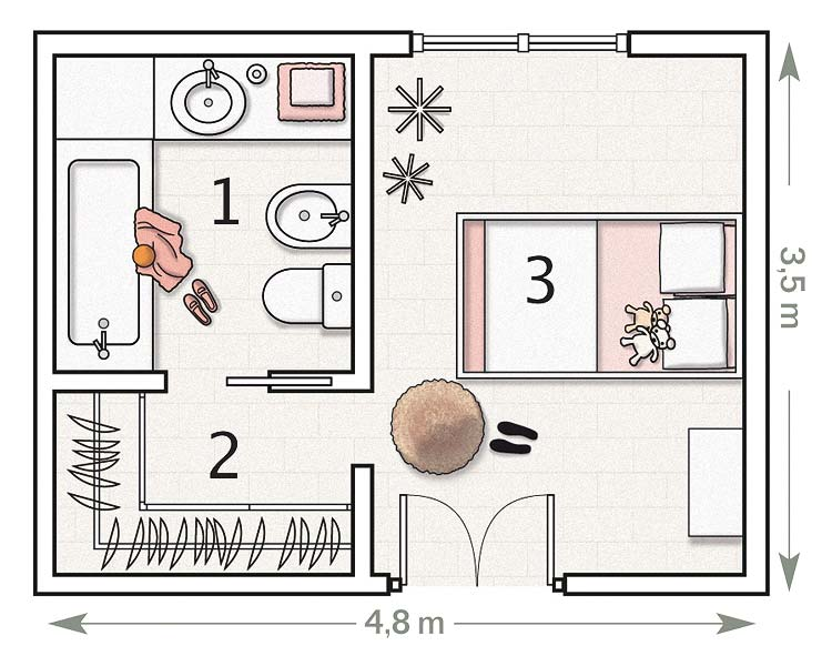 Planos de dormitorios for Kinderzimmer 11m2