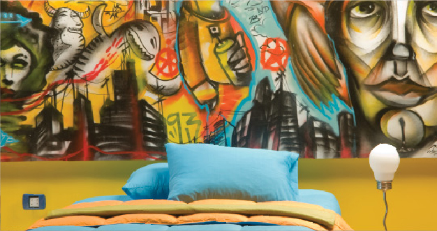 Dormitorio CON GRAFFITTI DECORACION CON GRAFITI