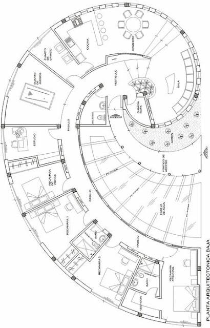 Plano de casa caracol con espejo de agua planos de casas for Extreme home plans