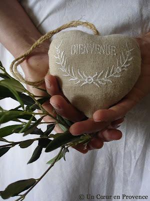 Cœur en tissu de lin Jardin d'Ulysse
