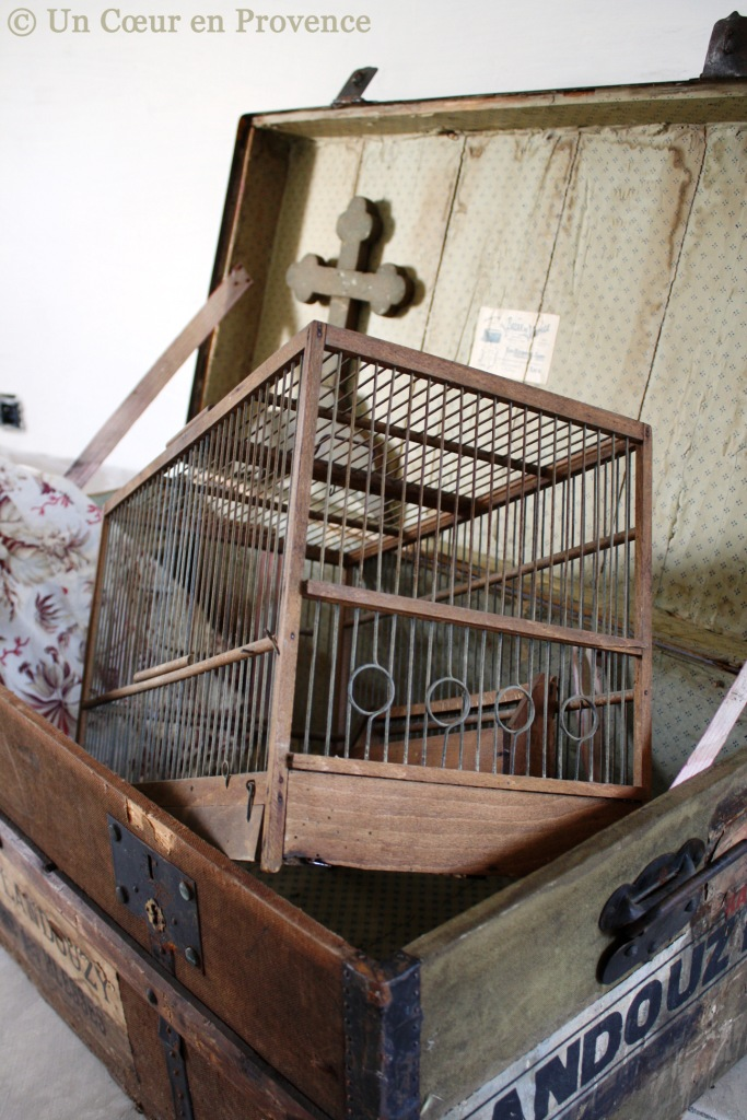 Decoration, old cages in a travel trunk