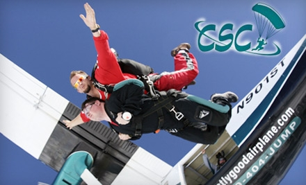 Today's Groupon lets you leap from 14, feet in the air and breathe the air that angels breathe with a tandem jump at Chicagoland Skydiving Center. From the Hinckley, Illinois, drop zone (west of Naperville on Route 30), the sky is clear for great views of the Chicago area and Lake Michigan while you flutter in ecstasy above the earth%().