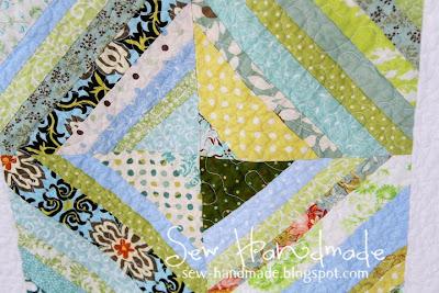 Sew Handmade Blue Amp Green String Quilt