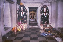 Interior of the Thimmappa temple in Bevooru