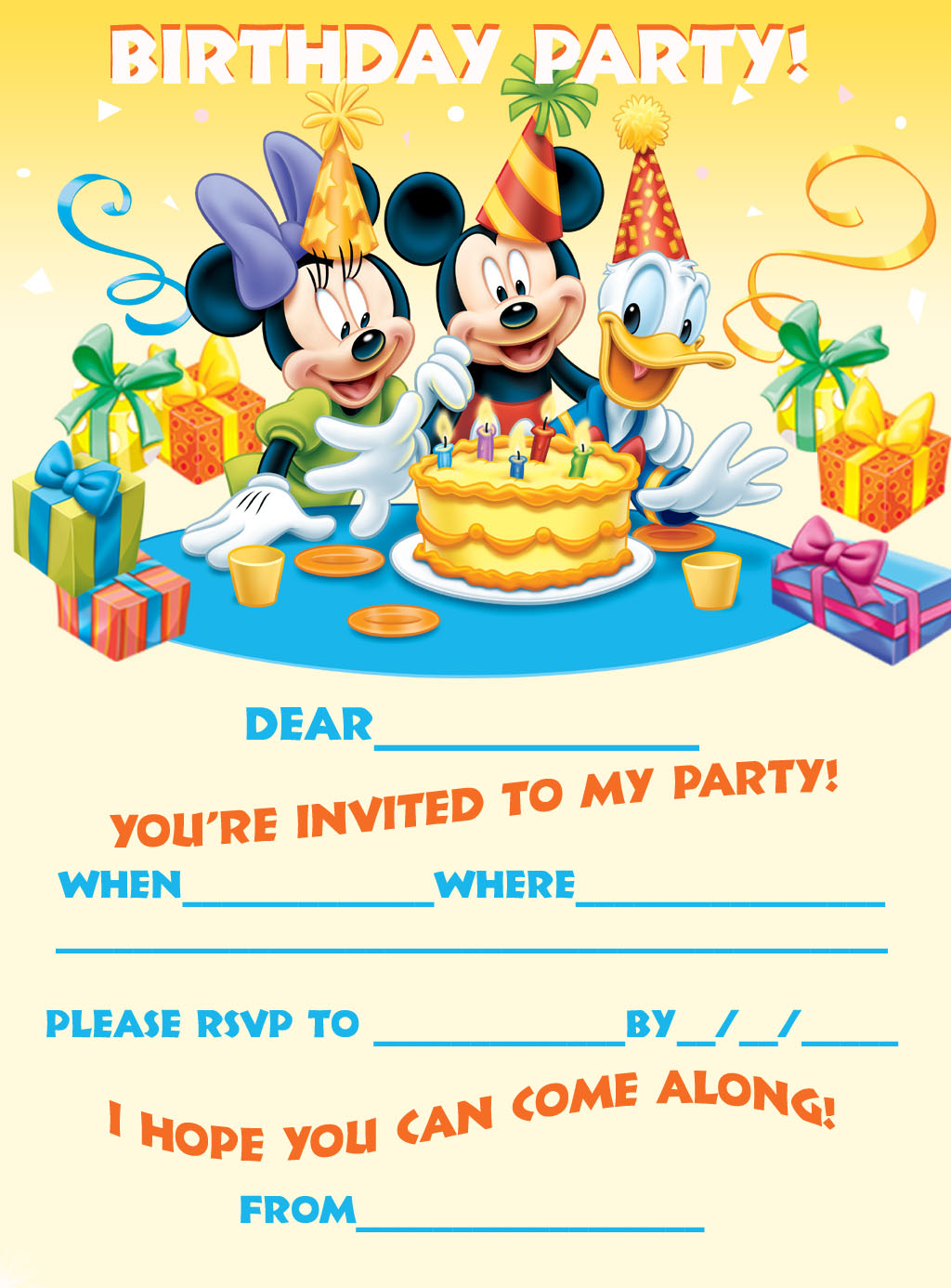 MICKEY MOUSE MINNIE AND DONALD DUCK PARTY INVITATION