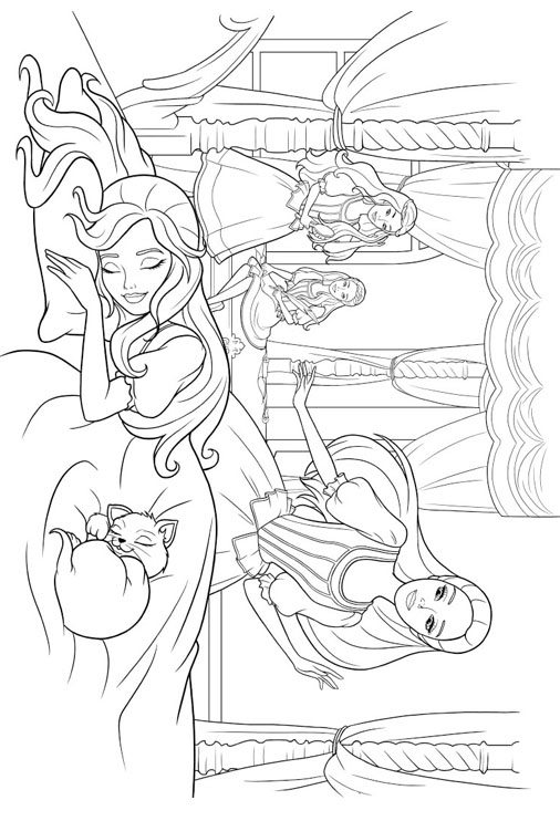 Princess coloring pages for Princess barbie coloring pages