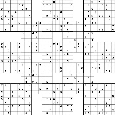 picture about Free Printable Samurai Sudoku Puzzles identified as sudoku for youngsters printable: Samurai Sudoku Puzzlesfree Sudoku